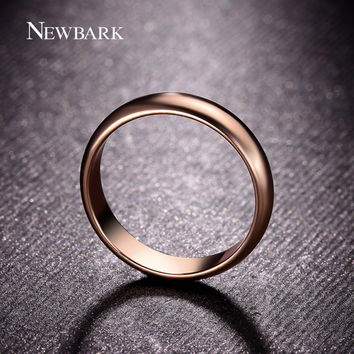 NEWBARK Simple Fashion Rings For Man And Woman Rose Gold Color High Polish 5mm Wide Classic Wedding Band Rings Jewelry