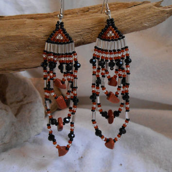 Hand Beaded Earrings, Brick Stitch, Black, Amber and Silver Czech Glass Seed Beads with Sunstone Chip Beads and Swarovski Crystals, OOAK