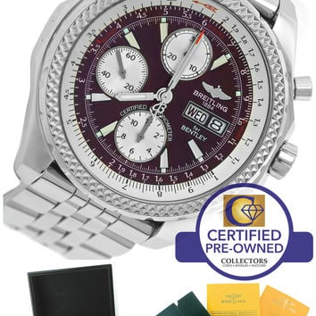 Breitling Bentley GT Chronograph Bordeaux Burgundy Stainless A13362 44.8mm Watch