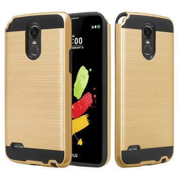 LG Stylo 3 Case, LG Stylo 3 Plus Slim Hybrid Dual Layer [Shock Resistant] Armor Case for Stylo 3 / Stylo 3 Plus - Brush Gold