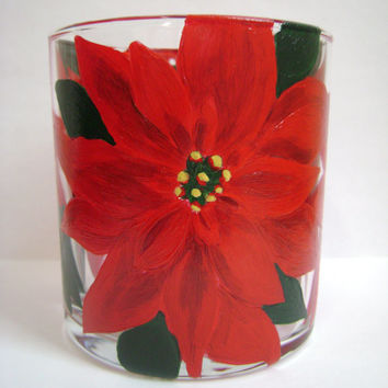 Poinsettia Candle Holder, Hand Painted Glass, Upcycled Glass, Christmas Decor, Christmas Holiday Red Flower