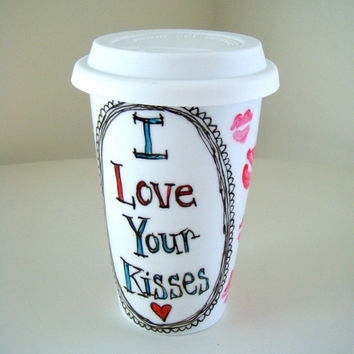 Valentine's Day Mug Ceramic Travel Mug Kisses Love Lips Kiss Romantic Painted Black White Red Pink Blue - MADE TO ORDER