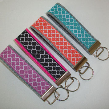 Chevron Key FOB / KeyChain / Wristlet  -  choose your own colors trellis Quatrefoil
