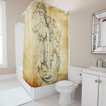 vintage mermaid on parchment shower curtain