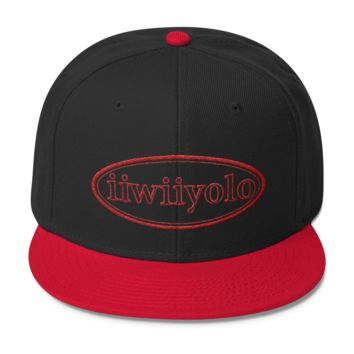Wool Blend Snapback - Red iiWiiyolo Oval Label