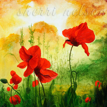 Moody Poppies Wildflower Field landscape painting print Accent Wall Art red green yellow Sunset Abstract Landscape Home Decor