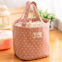 Coral Polka Dot Thermal Drawstring Lunch Bag