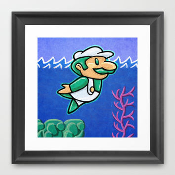 Luigi Swimmin Framed Art Print by Likelikes