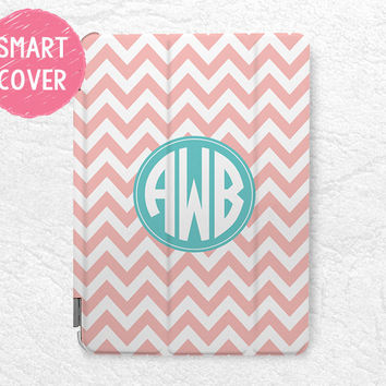 Personalized Peach Chevron Mint Monogram Initial custom name case for iPad Air, iPad Air 2, custom made for iPad