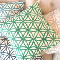 Hand-Printed Decorative Pillows, Modern Geometic Pattern Pillow Cover, Wedding Gift, Home Decor Spring Summer Trend for the Home