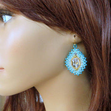 Turquoise Beaded Earrings. Turquoise, Gold and Crystal Dangle Earrings. Beadwork. Sparkly Earrings.