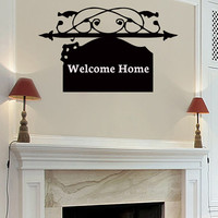 Wall Decals Welcome Home Decal Vinyl Sticker Sign Home Decor Bedroom Dorm Living Room Window Door Art Murals MN 336