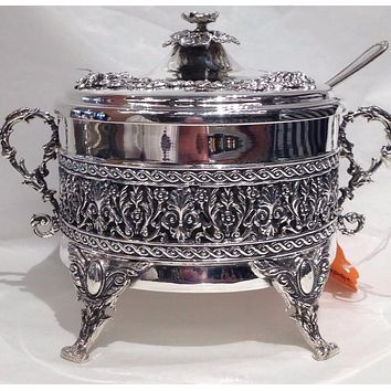 Silver Honey Dish with Handles and Spoon