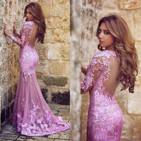 Lilac Lace Appliqued Long Sleeve Mermaid Prom Dress Open Back Sexy Sweep Trian Formal Dress APD1626