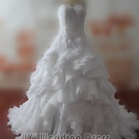 Real Pictures Ruffled Sweetheart Wedding Dresses with Pearls Custom Made Elegant Bridal Gowns Plus Size