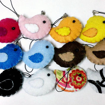 Cute Felt Bird Plush - Kawaii Plush Phone Charm, Accessory, Key Chain, Brooch, or Christmas Ornament