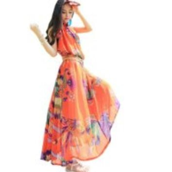 Dawdyfu Strap Bohemia Floral Fabulous Summer Party Holiday Maxi Dress (orange)