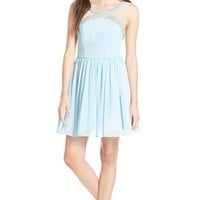Junior Women's Way-In Embellished Illusion Skater Dress,