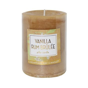 Chesapeake Bay Candle 3'' x 4'' Vanilla Rum Brulee Pillar Candle