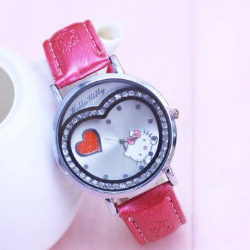 Hot Sales Brand cute hello kitty watch children girls women crystal dress quartz wristwatch Kids Clock