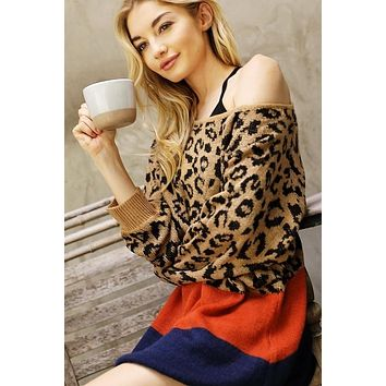 New Fall Women's Multi Color Block LeopardThick Knit Oversize Sweater
