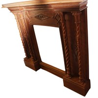 Indian Teak Wood Fireplace Mantel Surrounds  Antique Hand Carving Console Farmhouse Eclectic Unqiue