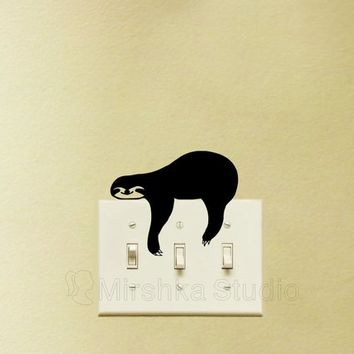 Sloth Light Switch plate Wall Sticker - Cute Sleepy Sloth Decal - Kids Room Wall Decor - Gifts For Animal Lovers - Cool Decals - Wall Art