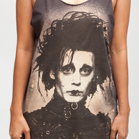 Johnny Depp Shirt Edward Scissorhands Shirt Women Tank Top Black Shirt Tunic Top Vest Sleeveless Women T-Shirt Size S M