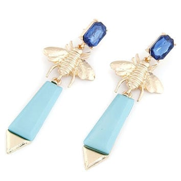 Blue Crystal and Stone with Bee Detail Earrings