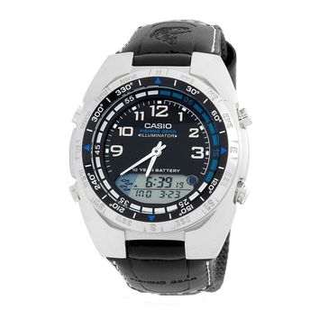 Men's Casio Ana-Digi Forester Fishing Timer Watch with Leather Band
