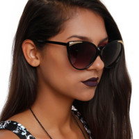 Black Gold Detail Cateye Sunglasses