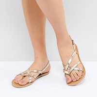 London Rebel Flat Sandals at asos.com