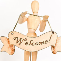 Welcome Sign on Chain - Pyrography Sign - Housewarming Gift