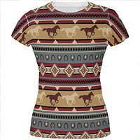 Southwestern Wild Horses Pattern All Over Juniors T Shirt