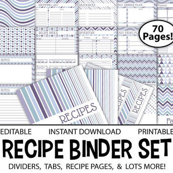 Printable Recipe Binder – Editable 8.5x11 PDF Meal Planner Recipe Organizer Shopping List Inventory Calendar INSTANT DOWNLOAD - Frosted Plum