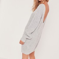 Missguided - V Back Mini Dress Grey