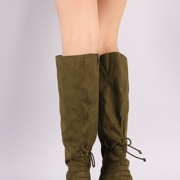 Bamboo Back Lace-Up Block Heeled Knee High Boots
