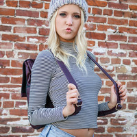 Painted Bliss Black & White Striped Mock Neck Crop Top