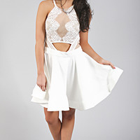 fancy girl flare dress - white