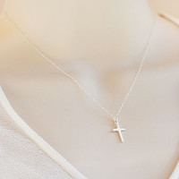 Vertical Sterling Silver or Gold Filled Cross Necklace - tiny cross - Kelly Ripa, Kourtney Kardashian