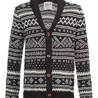 Charcoal Fairisle Cardigan - Men's Cardigans & Sweaters - Clothing - TOPMAN USA