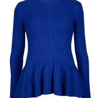 Peplum jumper - Bright Blue | Sweaters | Ted Baker