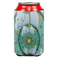 Mandala Trippy Stained Glass Elephant Can Cooler