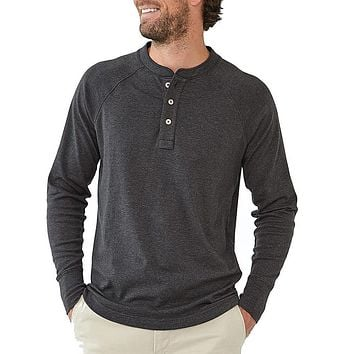 Long Sleeve Puremeso Henley Tee in Charcoal by The Normal Brand - FINAL SALE