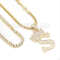 Iced Out Crown S Initial Pendant Necklace Set