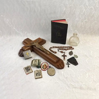 Vintage Religious Lot, Christian Relic Collection, Catholic Exorcism Sick Call Crucifix, Gothic Decor, Halloween Display