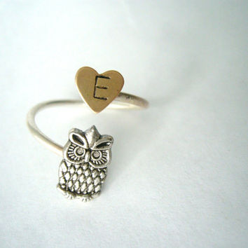 silver owl initials ring with a heart