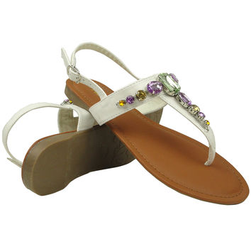 Womens Flat Sandals Colorful Gemstones Adjustable Ankle Strap White