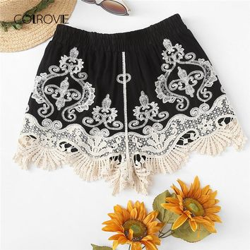 Contrast Lace Applique Embroidery Boho Shorts New Summer Elastic Waist Casual Shorts Black Vacation Women Short