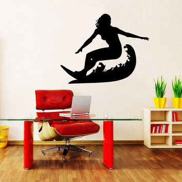 Wall Decal Vinyl Sticker Decals Art Home Decor Design Mural Surfer Surfboard Waves Sea Beach Extreme Sports Gift Kids Dorm Bedroom Art AN251